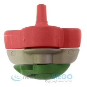 Boquilla microaspersor SPINNET 120l/h conex. macho roja-verde