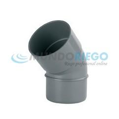 Codo PVC 45º sanitario ø32mm M-H gris