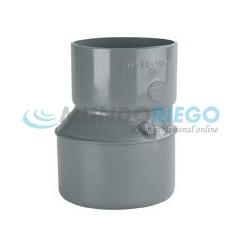 Ampliación cónica excentrica PVC sanitario ø125-90mm M-H gris