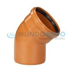 Codo PVC 45º saneamiento ø125mm M-H teja