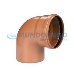 Codo PVC 87º 30' saneamiento ø125mm M-H teja