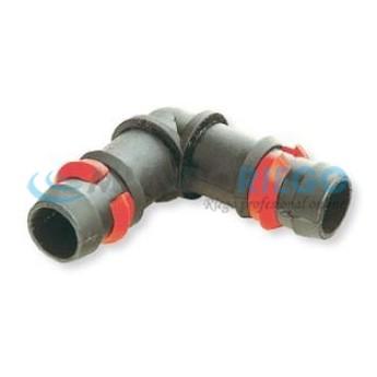Codo espiga 90º seguridad ø16mm anillas rojas tubería PE