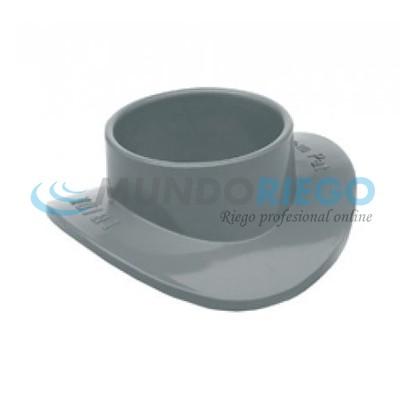 Injerto clip PVC sanitario ø125-ø40mm tipo escudo gris